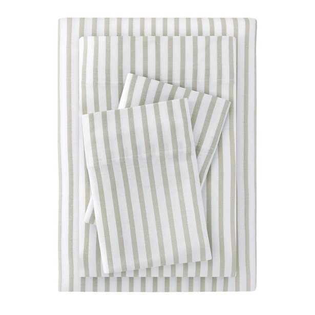 Jersey 3-Piece Twin Sheet Set in Biscuit Stripe - Home Depot