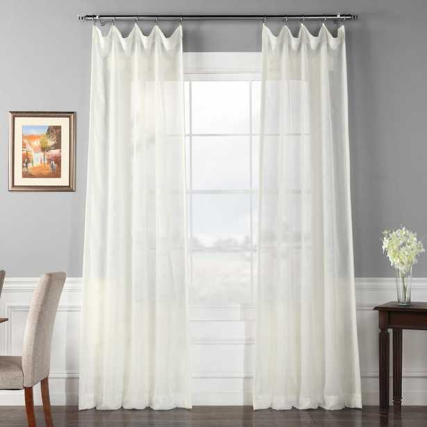 Exclusive Fabrics & Furnishings Signature Double Layered Off White Sheer Curtain - 50 in. W x 84 in. L (1-Panel) - Home Depot
