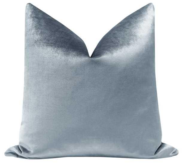 "Faux Silk Velvet Pillow Cover, Delft, 18"" x 18"" - Little Design Company"