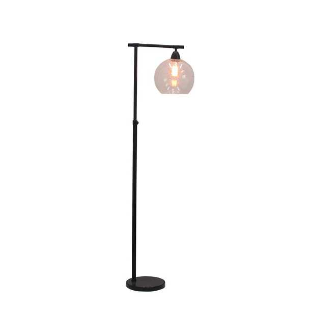 Cory Martin Fangio Lighting's #1561BLK 63 in. Stationary Downbridge Floor Lamp in Black Metal/Clear Glass and Black Marble - Home Depot