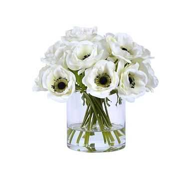 """Faux White Poppies In Glass Vase, 12"""" - Pottery Barn"""