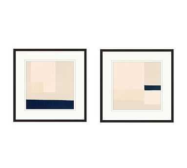 "Minimal Color Block Framed Paper Prints, Set of 2, 23"" x 23"" - Pottery Barn"