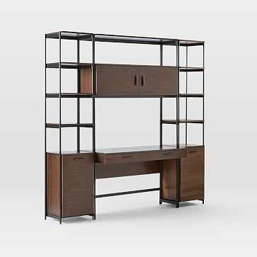 Foundry Narrow Bookcase + Desk Set, Dark Walnut - West Elm