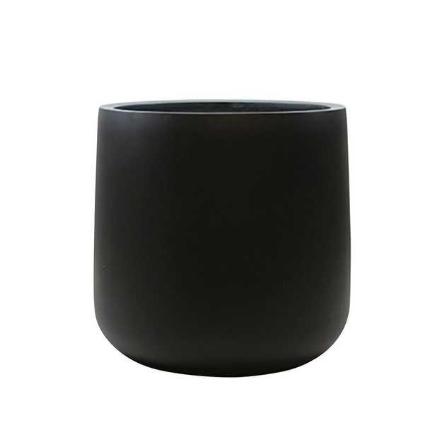13 in. x 13 in. Black Matte Fiberglass Round Bottom Planter - Home Depot