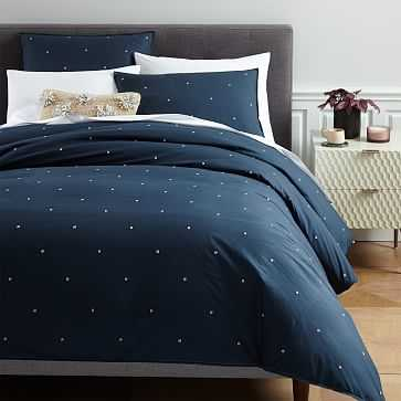 Organic Washed Cotton Duvet Cover, Full/Queen, Shadow Blue - West Elm