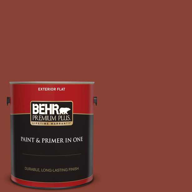 BEHR Premium Plus 1 gal. #QE-14 Spiced Red Flat Exterior Paint and Primer in One - Home Depot