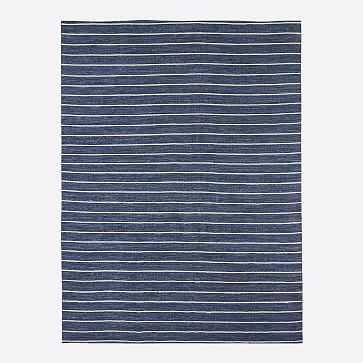 Cord Stripe Indoor/Outdoor Rug, Midnight, 8'x10' - West Elm
