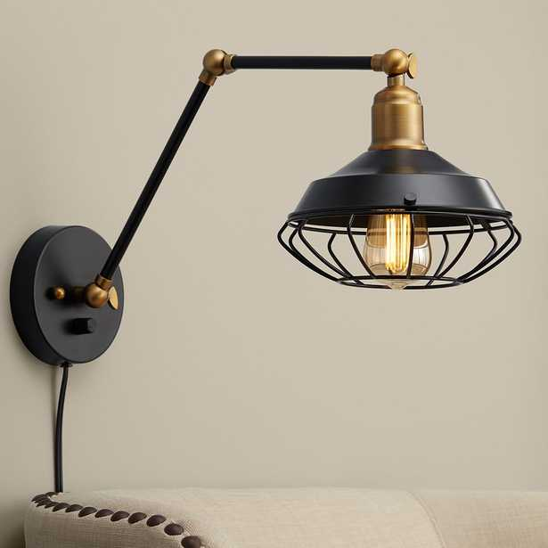 Zelda Matte Black and Gold Industial Cage Wall Lamp - Style # 55K56 - Lamps Plus