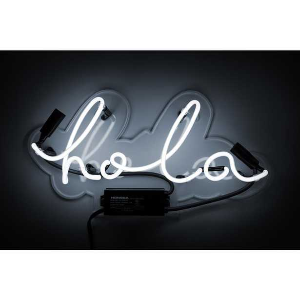 Oliver Gal 'Hola' Plug-in Neon Lighted Sign, White - Home Depot
