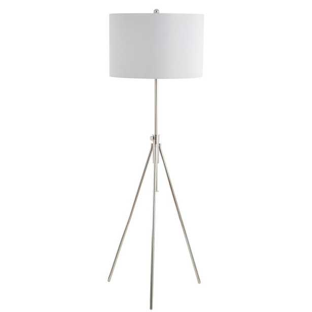 Safavieh Cipriana 72 in. Nickel Adjustable Floor Lamp with White Shade - Home Depot