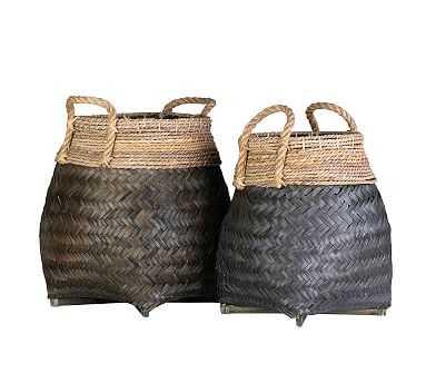Lyon Woven Black Baskets, Set of 2 - Pottery Barn
