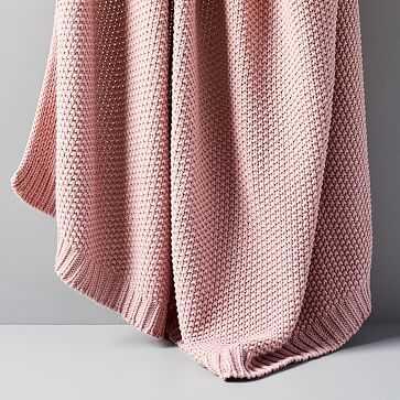 "Cotton Knit Throw, Pink Stone, 50""x60"" - West Elm"
