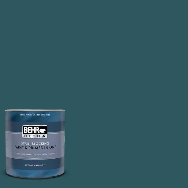 BEHR ULTRA 1 qt. #S450-7 Tsunami Satin Enamel Interior Paint and Primer in One - Home Depot
