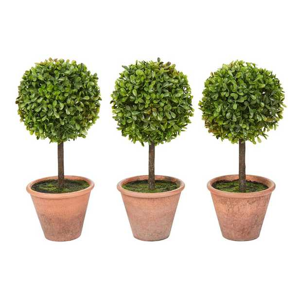 Pure Garden 11.5 in. Faux Boxwood Topiary Arrangements with Decorative Pots (Set of 3) - Home Depot