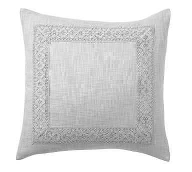 "Farrah Embroidered Pillow Cover, 22"", Smoke - Pottery Barn"