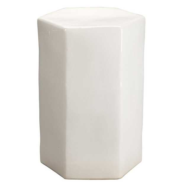 Jett Modern Classic Novelty White Ceramic Side Table - Kathy Kuo Home