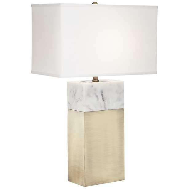 Imperial Antique Brass Faux Marble Table Lamp - Lamps Plus