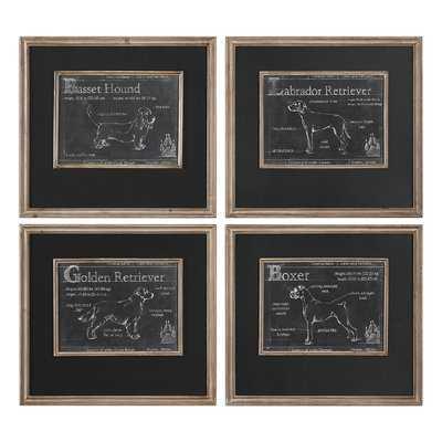 'Canis Lupus Familiaris' 4 Piece Picture Frame Graphic Art Set on Metal - Birch Lane