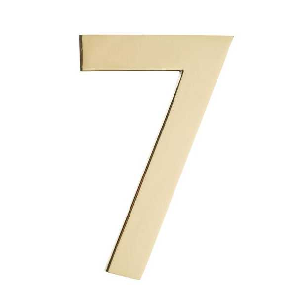 5 in. Polished Brass House Number 7 - Home Depot