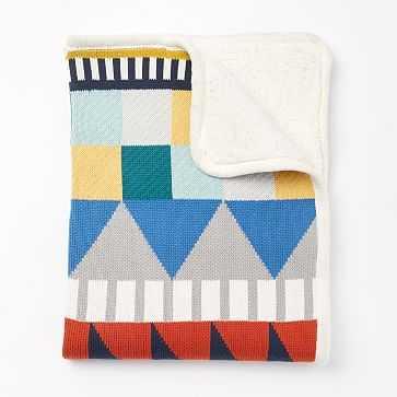 Knit Cotton Toddler Blanket, Geometric, Multi - West Elm
