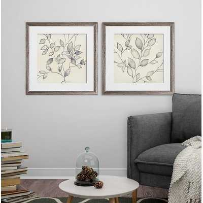 'Whispering Leaves' 2 Piece Framed Graphic Art Print Set - Wayfair