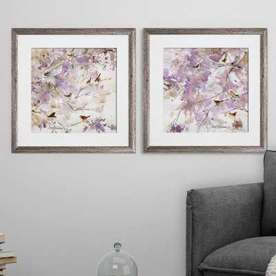 'Lavender Spring' 2 Piece Framed Print Set - Wayfair