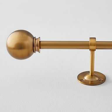 Classic Ball Finial + Hardware Set, Brass, Single, 48''-88'' 1.25'' Diameter - Pottery Barn Teen