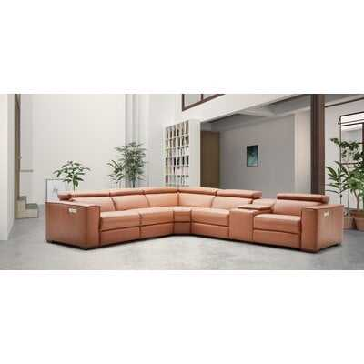 """Leather 138"""" Reversible Sectional - Wayfair"""