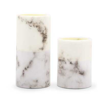 Artificial Flameless Led Pillar Candle Set Of 2 - White Marble - Wayfair