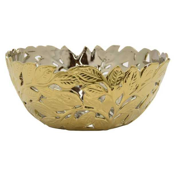 13 in. x 13 in. Decorative Pierced Gold Ceramic Bowl, Metallics - Home Depot