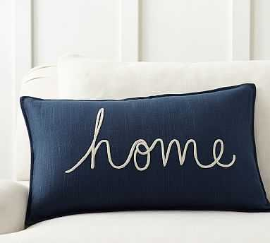 """Home Sentiment Embroidered Lumbar Pillow Cover, 16 x 26"""", Blue - Pottery Barn"""