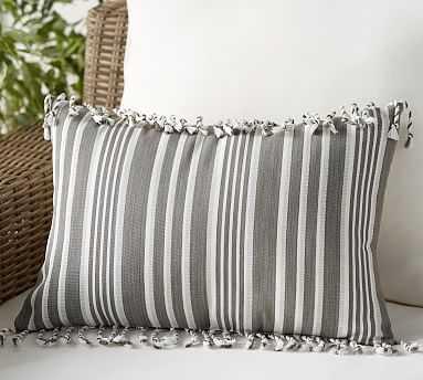 "Outdoor Melilla Fringe Lumbar Pillow, 14 x 20"", Gray Multi - Pottery Barn"