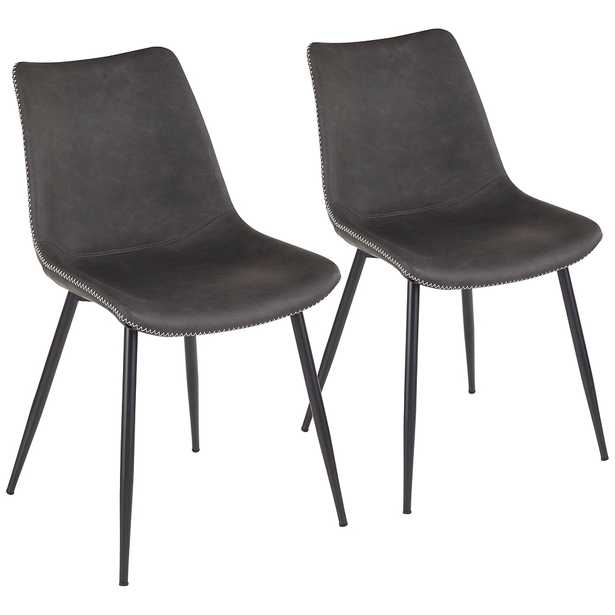 Durango Gray Faux Leather Dining Chairs Set of 2 - Style # 69V84 - Lamps Plus