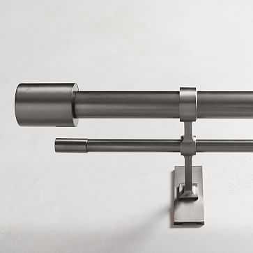 "Oversized Adjustable Metal Double Rod, 108""-144"", Gunmetal - West Elm"