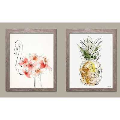 'Tropical Pink Floral Flamingo and Yellow Pineapple' 2 Piece Framed Watercolor Painting Print Set - Wayfair