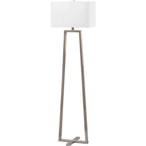 Safavieh Lyell 60 in. Nickel Floor Lamp with White Shade - Home Depot