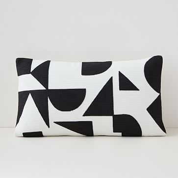 """Margo Selby Mix Geo Pillow Cover, 12""""x21"""", Stone White - West Elm"""