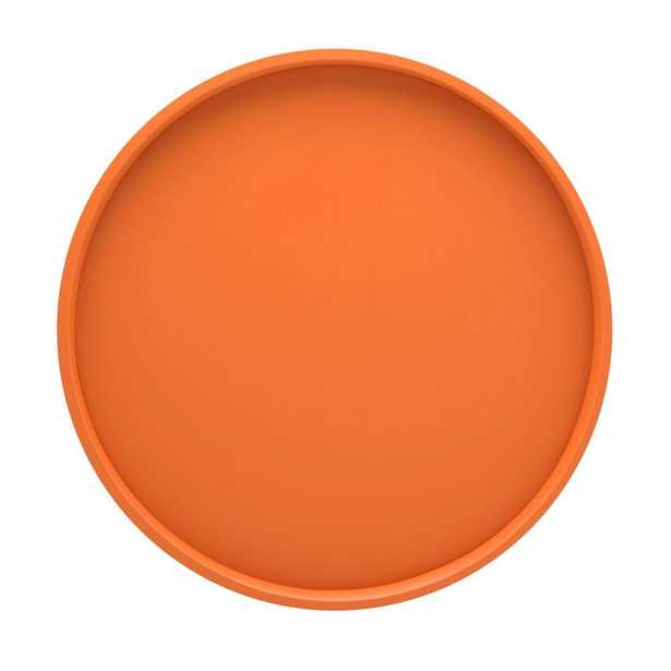 14 in. Round Serving Tray in Spicy Orange - Home Depot