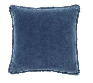 """Fringe Velvet Pillow Cover, 22"""", Stormy Blue - Pottery Barn"""