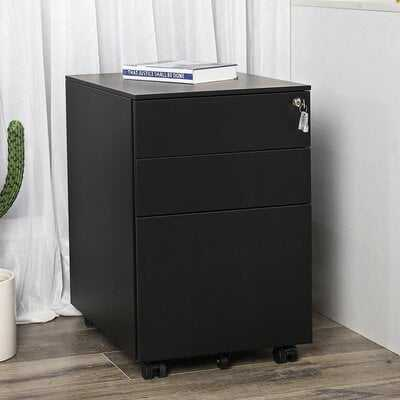 Sidwell Steel 3-Drawer Mobile Vertical Filing Cabinet - Wayfair