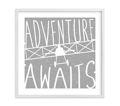 Adventure Awaits Vintage Airplane Wall Art by Minted(R), 24x24, White - Pottery Barn Kids