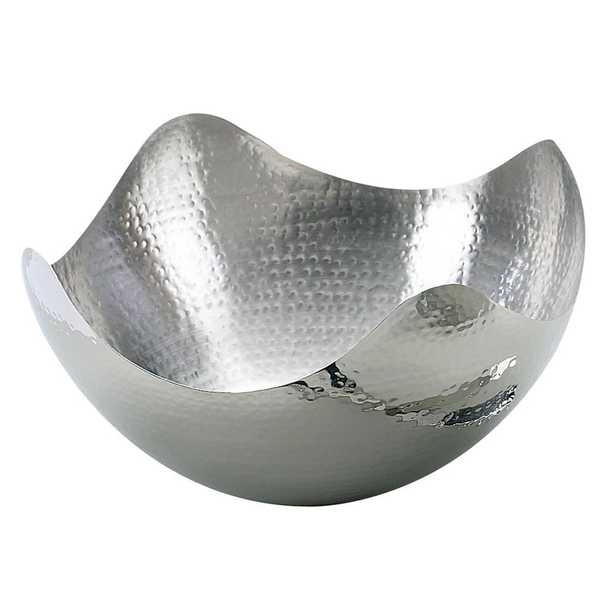 10 in. Hammered Stainless Steel (Silver) Wave Bowl - Home Depot