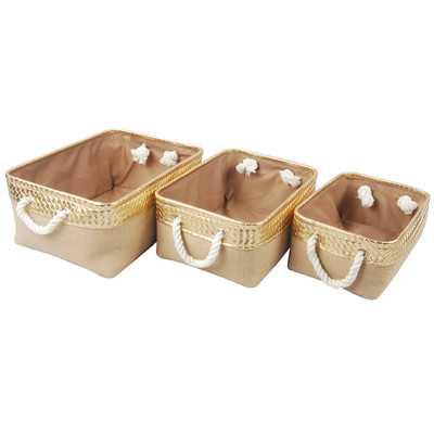 3 Piece Burlap Container Set - Wayfair