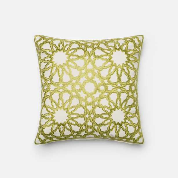 """PILLOWS - GREEN / BEIGE - 18"""" X 18"""" Cover w/Down - Loma Essentials"""