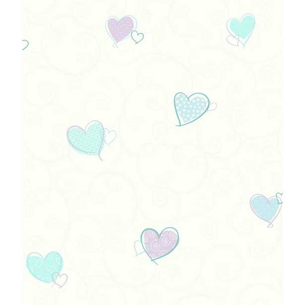 Growing Up Kids Colorful Hearts Removable Wallpaper, White/Blue/Turquoise/Purple/White - Home Depot