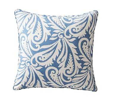 """Wynnfield Paisley Print Pillow Cover, 20"""", Harbor Blue/Ivory - Pottery Barn"""