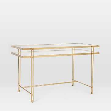 Fulton Desk, Antique Brass - West Elm