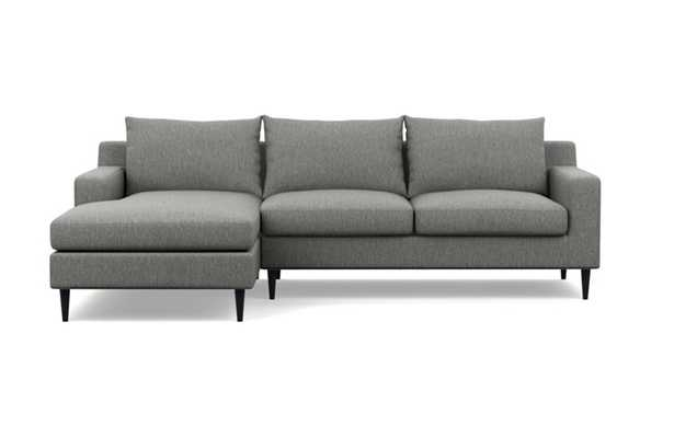 Sloan Left Sectional with Grey Plow Fabric, extended chaise, and Painted Black legs - Interior Define