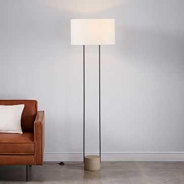 Industrial Outline Floor Lamp, Concrete + Antique Bronze - West Elm