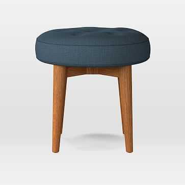 Mid-Century Upholstered Round Bench, Linen Weave, Regal Blue, Pecan - West Elm